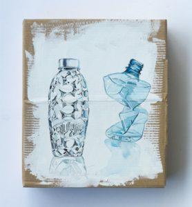 Bild bottles Acrylfarbe auf Karton