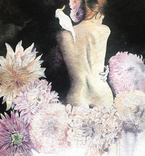 Aquarell Mensch Blumen