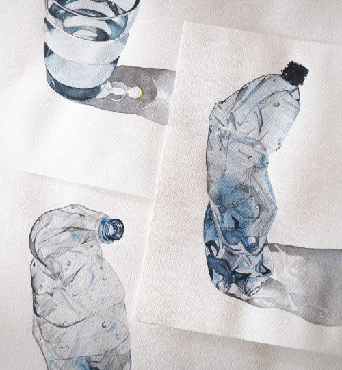 Aquarell Wasser Flaschen